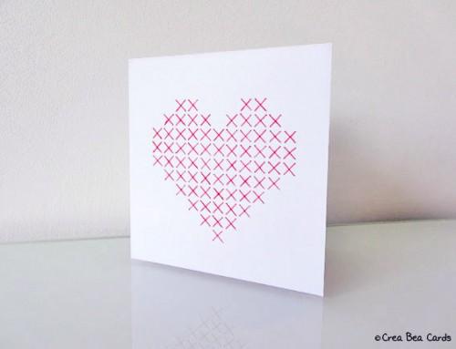 Sewn heart card I