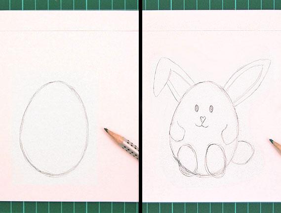 easter, bunny, egg, card, step 2