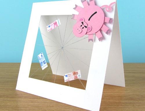 Spider piggy bank card